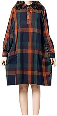 Ultramall Dress Women Retro Long Sleeve Casual Dress Plaid Loose Pocket Dress
