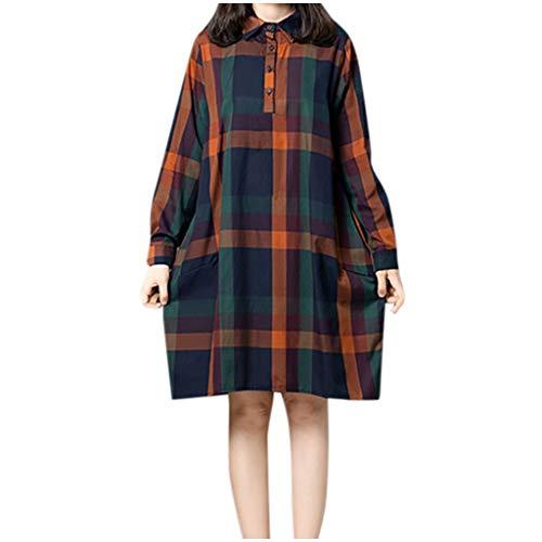 Floweworld Damen Freizeitkleider Retro Langarm Plaid Gedruckt Lose Minikleider Umlegekragen Knopf Tasche Kleider Plus Size Kleider -