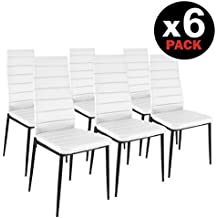 HomeSouth - Pack seis sillas tapizadas símil piel, silla color Blanco, patas metalicas Negras.