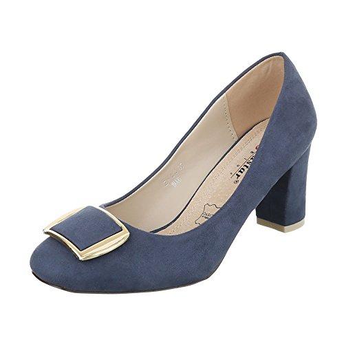 Komfort Pumps Damenschuhe Geschlossen Pump Bequeme Ital-Design Pumps Blau