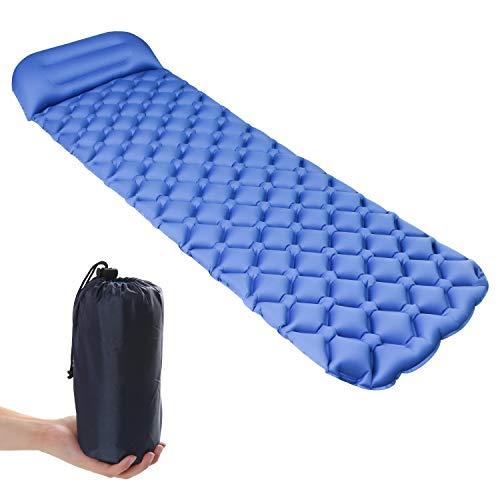 ELEPOWSTAR Isomatte Selbstaufblasend, Campingmatte Aufblasbare Luftmatratze wasserdichte Schlafmatte mit Kissen Kleines Packmass für Outdoor Wandern Reise
