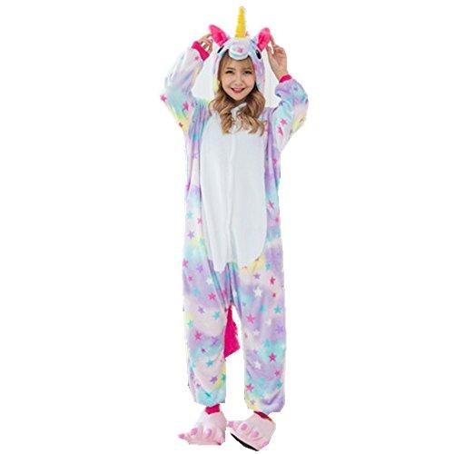 Rainbow Fox Unicornio Pijama Adultos Cosplay Disfraz Animal Ropa de Dormir Franela Novedad Víspera de Todos los Santos Navidad Ropa (S, Estrella)