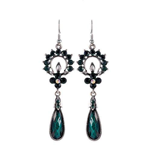 Verde scuro sfaccettato in resina goccia charm in lega orecchini con strass impreziosito, er-479e - Resina Charm