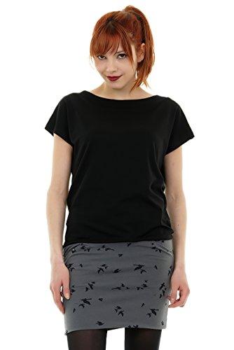 Skaterkleid Sommerkleider Damen Jerseykleid Pixie kurz Minirock Minikleid Skaterkleid von 3 Elfen schwarz grau Vogel S - Grau Pixie