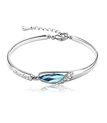Bangle Bracelet Silver Plated Aquamarine Blue Swarovski Elements Crystal CZ
