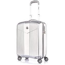 Leichtgewicht Reisekoffer Hartschale Handgepäck TSA integriert S-19(55cm) von Verage V-Lite, 4 Rollen ABS/PC Trolley (Grau) mit Sicherheits-Reißverschluss