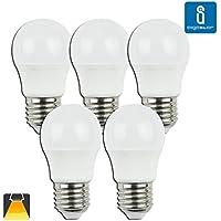 Aigostar - Pack de 5 Bombillas LED A5 G45 esferica, 5W, casquillo gordo E27, luz calida 3000K[Clase de eficiencia energética A+]