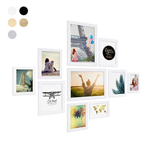 Photolini set da 10 cornici fotografiche basic collection modern bianco in mdf, accessori inclusi/collage foto/galleria fotografica