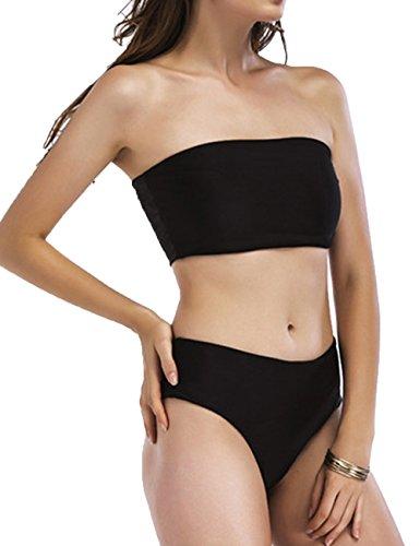 Junshan Damen Bikini Set Bandeau Trägerlosen Badeanzug Push Up Swimsuit Bustier Zweiteilig Sommer Sportliches Bademode (L, Schwarz) (Bustier Trägerlosen Set)
