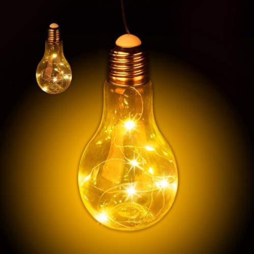 lühbirne LED zum Hängen, batteriebetriebene LED-Deko, kabellose Glühlampe mit Lichterkette, transparent ()