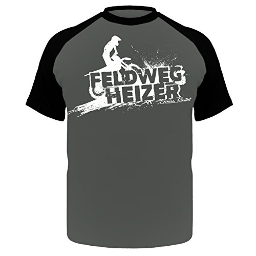 Männer und Herren T-Shirt Feldwegheizer (mit Rückendruck) Schwarz/Grau