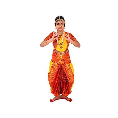 Bharatanatyam Readymade Yellow & Orange China Silk Costume For Fancy Dress Competitions/School...