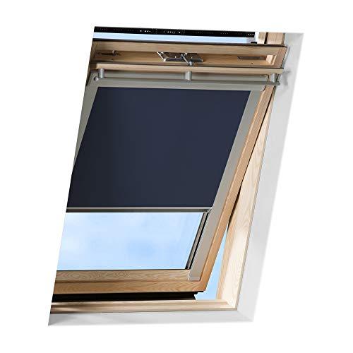 VICTORIA M Tenda a rullo adatta per finestre per tetti Velux/tenda a rullo oscurante per lucernari Velux/GGL C04 blu scuro