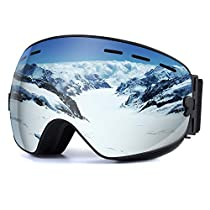 109902c6078 UPSKR Ski Goggles Anti Fog Snowboard Goggles Double Lens Silver with 180°  Wide View 100