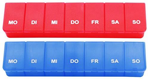 com-four® 2X Medikamenten-Box in blau und rot, Aufbewahrung für 7 Tage (02 Stück - blau/rot)