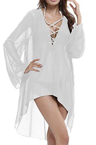 Frauen lose V-Ausschnitt 3/4 Ärmel Kittel kurzen Strandkleid White