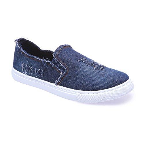La Modeuse - Baskets de type slip-on en jean avec boutlégèrement allongé Bleu
