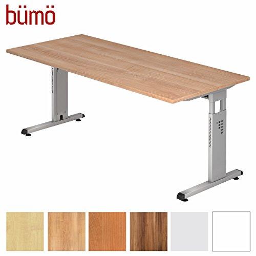 BÜMÖ® Stabiler Schreibtisch höhenverstellbar 180 x 80 cm | Bürotisch in Nussbaum | Büroschreibtisch mit Höheneinstellung | Tisch für Büro in 9 Größen & 7 Dekoren -