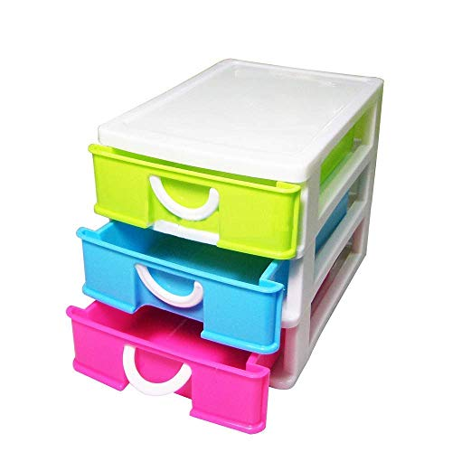 Telishop 3 Drawers Table Top Storage Box | Multipurpose Storage Chest, Plastic - Small Size