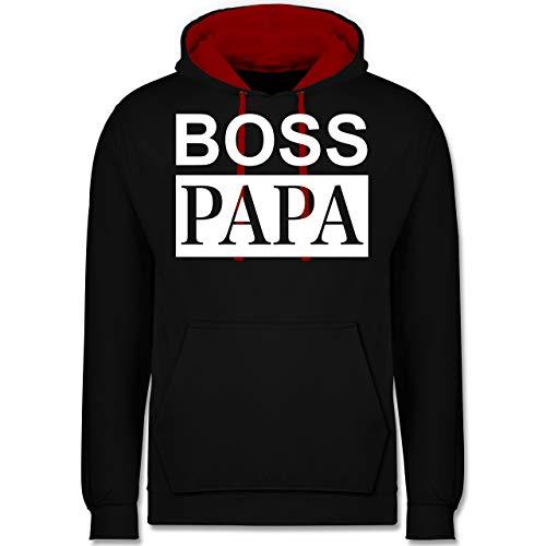 ook Familie Papa - Boss Papa - Partnerlook - XS - Schwarz/Rot - JH003 - Kontrast Hoodie ()