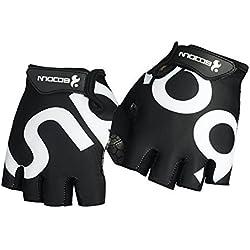HiCool - Guantes de medio dedo para deportes resistente a la abrasión (Levantamiento de Pesas, Fitness, Cross Training, Ciclismo) , Medio