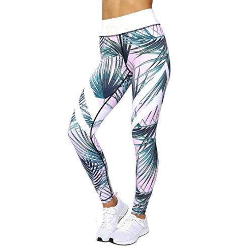 Leggings Damen, ABsoar Damen Leggings Laufhose Gym Yoga Hosen Fitness Elastische Leggings Sporthosen (M, Blätter Rosa)