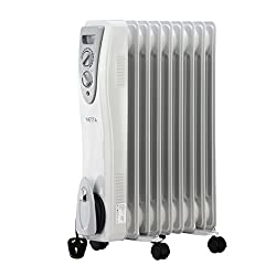 Netta 2000w Oil Filled Electric Heater Radiator 3 Power Settings With Thermostat– 9 Fin