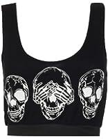 Womens Army Leopard Skull Print Crop Sports Bra Vest Top /Size 8-14 - £4.99 (M/L (UK 12-14), Skull / Black)