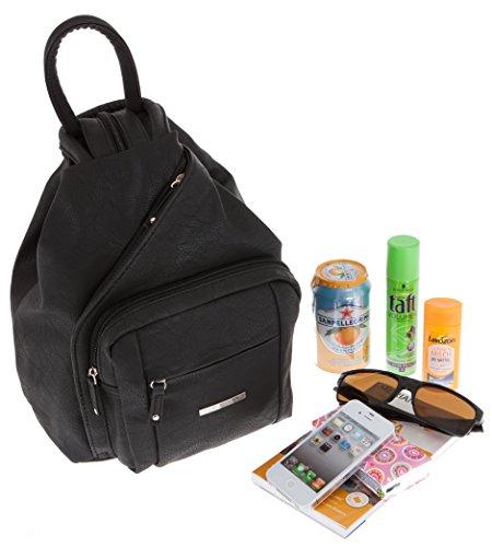 ALESSANDRO Femme Bag Handtasche Rucksack Damentasche + Schlüßelmäppchen (TIRANO Black 6) - 5