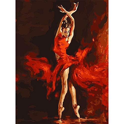 ch Zahlen Kit Färbung Malen Nach Zahlen Wall Art Bild Für Wand Artwork - Feuer Ballett Tänzerin 16 * 20 Zoll,Withframe ()