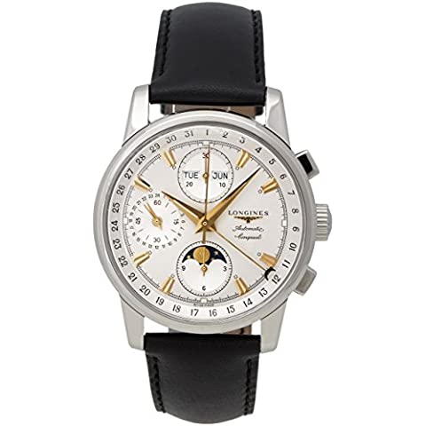 Longines Conquest Heritage Automatic Chronograph Steel Mens Watch Silver Dial Calendar