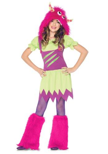 Enchanted Costumes Fuzzy Wuzzy Wanda Monster Kinder Mädchen Fasching Halloween Karnevall Kostüm Kleid + Fell Mütze (Small 104-116)