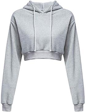 K-youth® Sudaderas Cortas con Capucha Para Mujer, Hoodie Blusa Camiseta de Manga Larga Tops de Deportivo Moda...