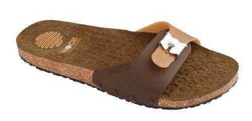 Sandalo confortevole Sanus - Calzatura professionale WOCK - Antiscivolo; Cinturino regolabile; Microfibra; Sughero Marrone/Cammello