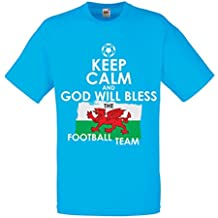 N4512 Männer T-Shirt Keep Calm and God will Bless the Football team of Wales