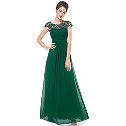 Ever-Pretty Vestidos de Fiesta Noche Largos de Encaje con Manga de Casquillo de Las Mujeres 36 Verde Oscuro