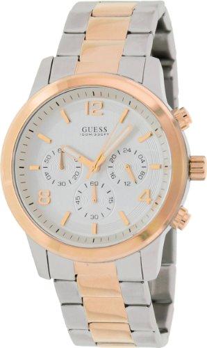 GUESS Men's 44mm Two Tone Steel Bracelet & Case Quartz Silver-Tone Dial Chronograph Watch U0123G1