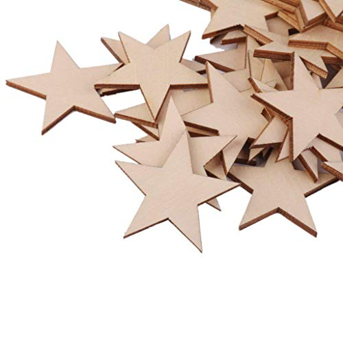 Star Shape Wooden Embellishments for Crafts 50mm Pack of 25pcs