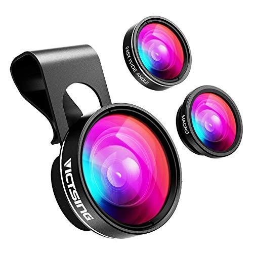 VicTsing Fisheye 3-IN-1 Handy Linsen Fischauge Objektiv (180 Grad Fisheye Objektiv, 0.65X Weitwinkelobjektiv, 10X Makroobjektiv) Handy Linsen Adapter für Smartphone Samsung usw