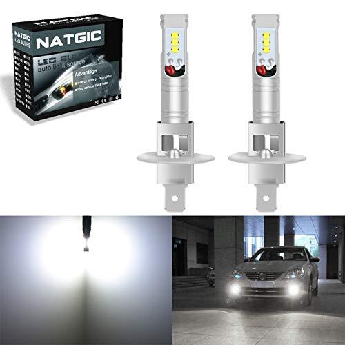 NATGIC 2 STÜCKE H1 Glühlampen Extrem Helle 850LM CSP Chips H1 Philips Glühlampen für Nebelscheinwerfer Auto DRL Tagfahrlicht 12V-24V, Xenon weiß