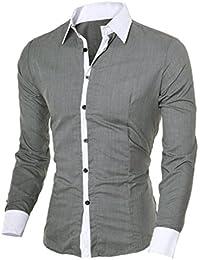 107dd1510a066 OHQ Camisa De Manga Larga para Hombre Negro Blanco Azul Gris Rosa Casual  Delgado Personalidad Blanca Plaid Moda Manga Larga Chic…