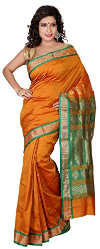 Aruna Fashions Self Design Paithani Gatti 3D Art Silk Saree( Gold color saree with Gold color blouse piece)  available at amazon for Rs.999