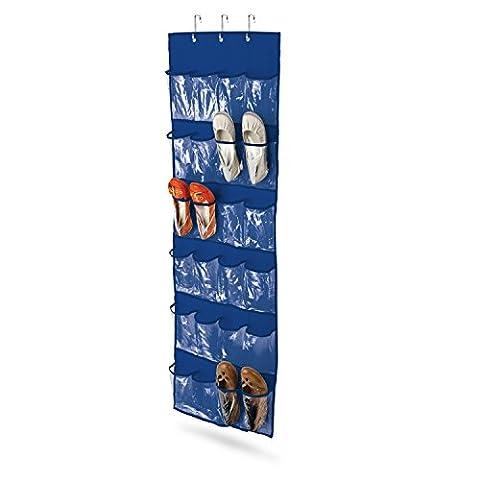 Honey Can Do SFT-01278 Organisateur de Chaussures de Porte à 24Pochettes Acier Inoxydable Bleu/Transparent 3,81 x 27,94 x 27,31 cm