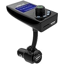 ECANDY transmisor de radio FM Bluetooth inal¡§¡émbrico actualizado con 2 puertos de carga USB. Transmisor FM para Auto con kit adaptador de radio. Cargador de Auto USB con entrada Auxiliar, Pantalla de 1.44 pulgadas y ranura para tarjetas TF
