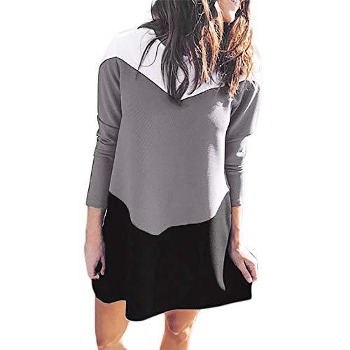 Damen O-Neck Kleid Langarm Mode Freizeit Lose Pulloverkleid -