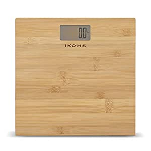 IKOHS NATURE WELLNESS – Báscula de Baño con Pantalla LCD, compacta, Capacidad de 180 kg, Laminado de Bamboo Natural