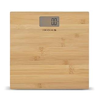 41536gF54IL. SS324  - IKOHS NATURE WELLNESS - Báscula de Baño con Pantalla LCD, compacta, Capacidad de 180 kg, Laminado de Bamboo Natural