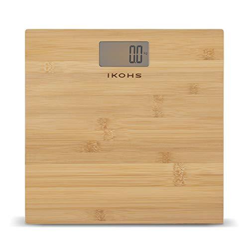 IKOHS NATURE WELLNESS - Báscula de Baño con Pantalla LCD, compacta, Capacidad de 180 kg, Laminado de Bamboo Natural