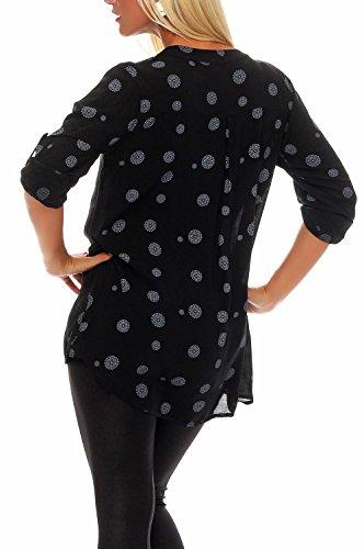malito Bluse mit Print V-Ausschnitt 3/4 Tunika 6703 Damen One Size Schwarz