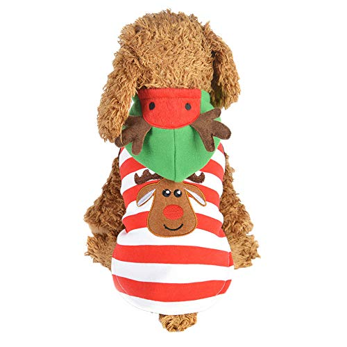 Dragon868 Mode Hund Puppy Hoodie Striped Style Warm Clothes Elk Dress Up Xmas Mantel